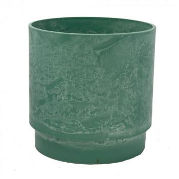 Круглое кашпо для цветов 30x30 зеленое GreenShip