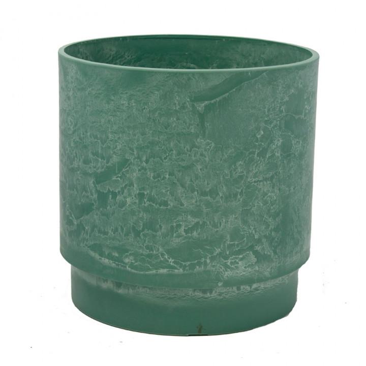 Круглый горшок для цветов 25x25 зеленый GreenShip