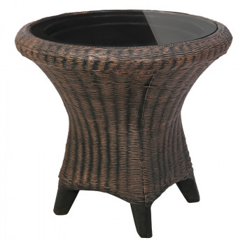 Большой круглый стол из искусственного ротанга со стеклом